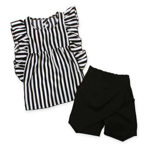 f3c4ccc3882 placeholder 2018 summer kids clothes girl black white Striped sleeveless  shirt Tops+Short pants Clothing Set