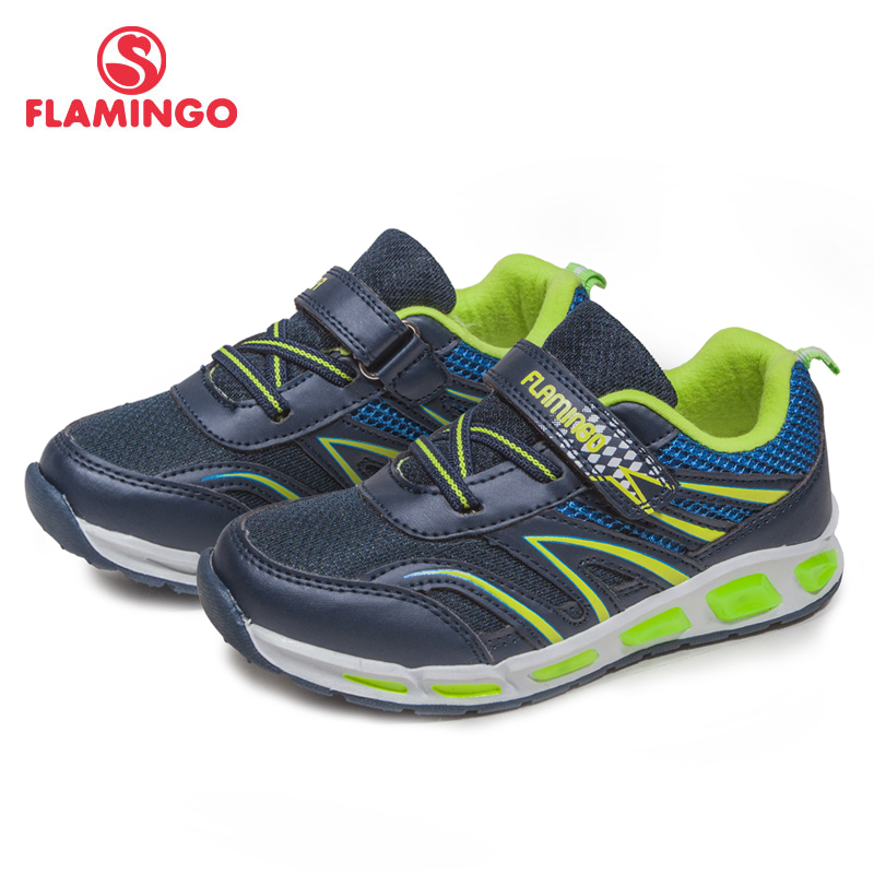 FLAMINGO Brand 2018 Comfortable Spring&Summer Breathable Hook&Loop sneaker for boy with LED size 26-31 Free shipping 81K-BK-0589