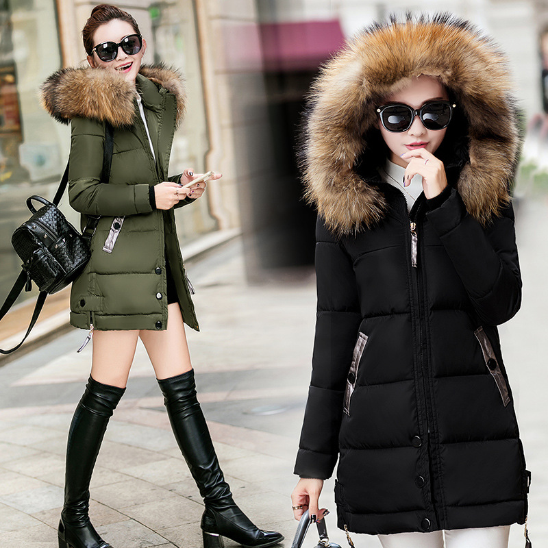 все цены на  Hot new Thickening warm Slim cotton women in the long section of the hooded large collar collar cotton 2017 winter cotton jacket  онлайн