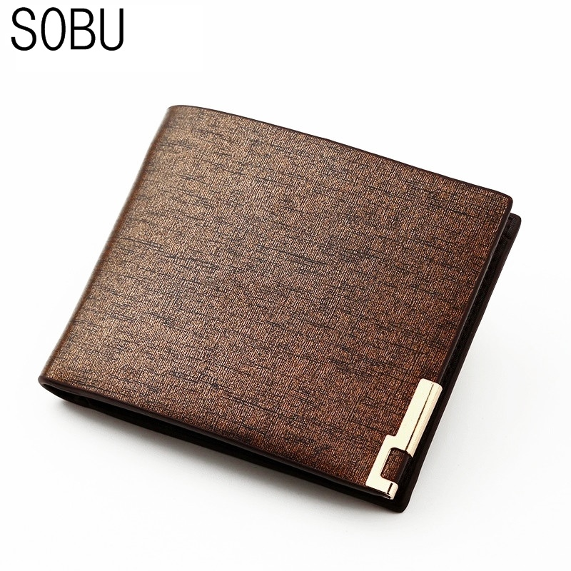 Men Wallets PU Leather Fashion Thin Bifold Wallet Men ID Card Holder Coin Purse Pockets Clutch Business Men Wallet F001