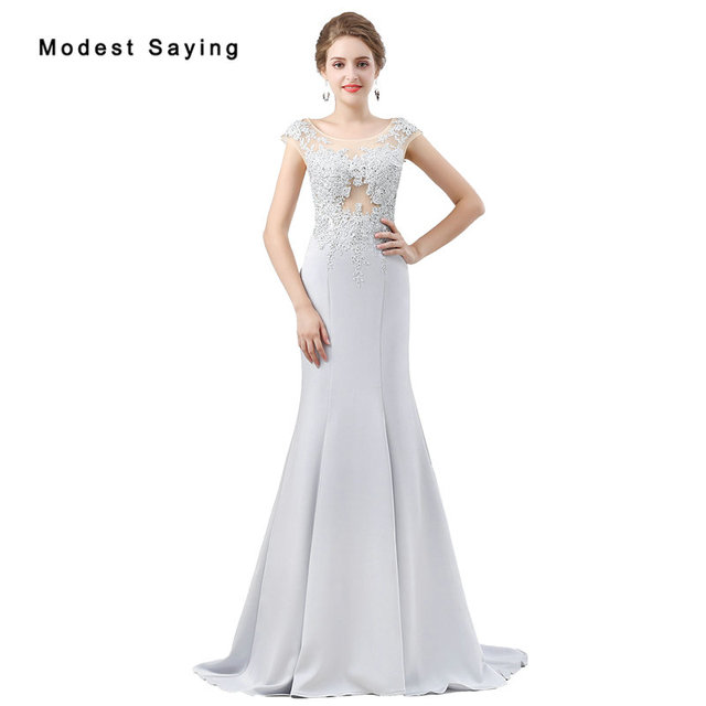 df14618f42 Sexy Sheer Silver Lace Evening Dresses 2018 New Engagement Gowns Formal Long  Mermaid Beaded Party Prom Gowns vestido de festa