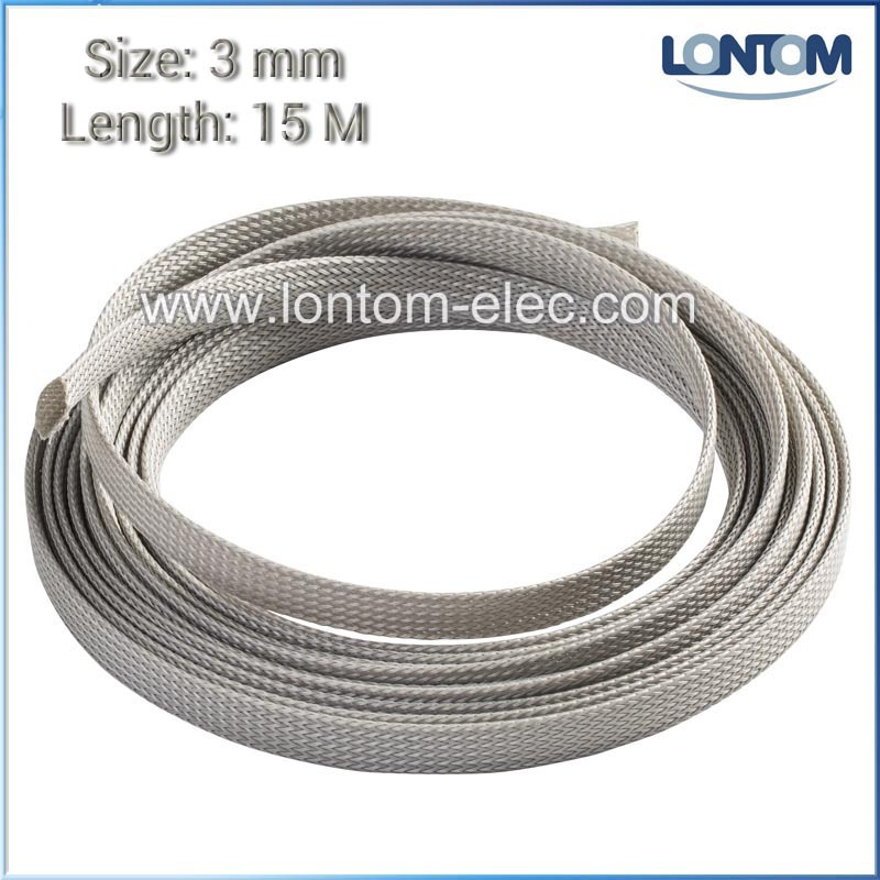 3mm 15 Meters Gray PET Expanding Braided Cable Wire Sheathing Sleeve Sleeving Harness