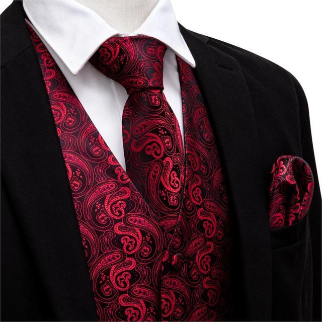 6cfee6e67a29 Chaleco de traje con cuello en V rojo chaleco Formal Paisley corbata  conjunto gemelos pañuelo para esmoquin CHALECOS DE NEGOCIOS Barry. Wang MJ  2001