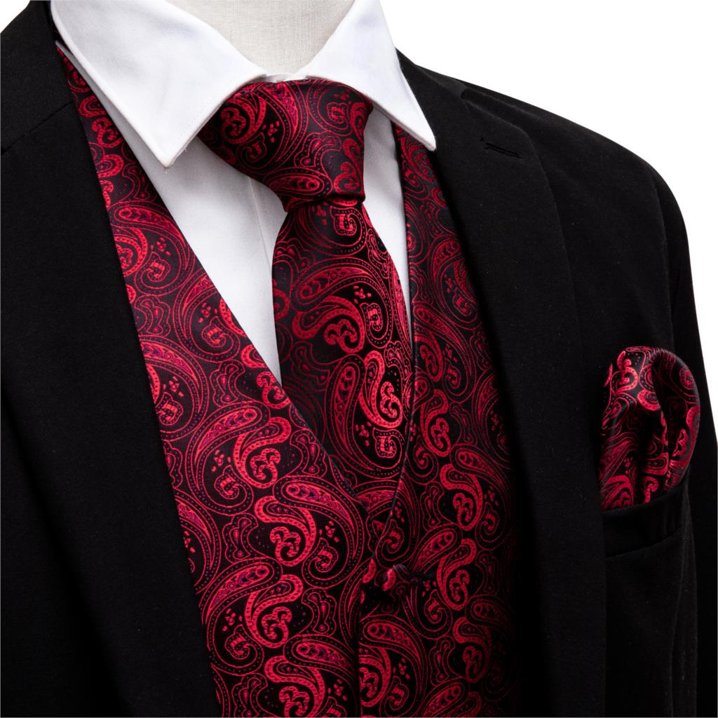 Men V-neck Suit Vest Red Formal Waistcoat Paisley Tie Set Cufflinks Handkerchief For Tuxedo Business Vests Barry.Wang MJ-2001