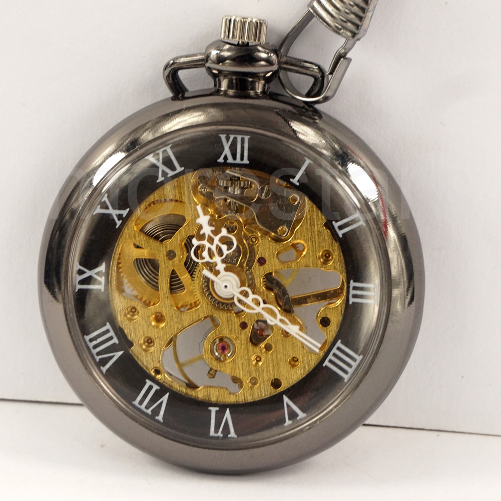 Wholesale 20pcs Roman Dial Windup Skeleton Mechanical Mens Women Pocket FOB Watch with Chain Free Shipping Hand wind elegant retro fob chain pendant copper roman numbers skeleton hand winding mechanical pocket watch flower dial gift womens mens