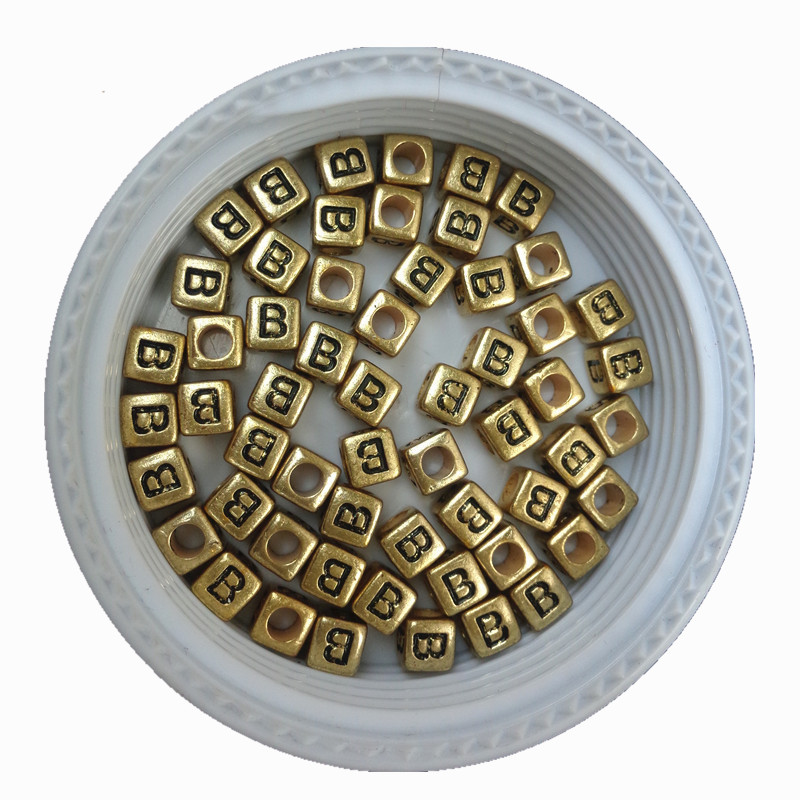 500pcs 2600pcs/lot 6*6mm Big Hole Cube Square Gold Letters Beads Single Initial English B Printing Palstic Alphabet Jewelry Bead Unequal In Performance Beads