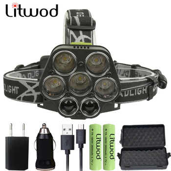 Litwod z202507 мощный светодио дный фара для охоты рыбалки фары перезаряжаемые фонарик головной свет 30000LM 5 * T6 факел Фонари