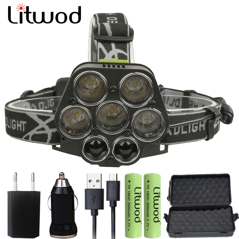 Litwod Z25 Powerful Led Head Lamp For Hunting Fishing Headlamp Rechargeable Flashlight Head Light 30000LM 5*T6 Torch Lantern