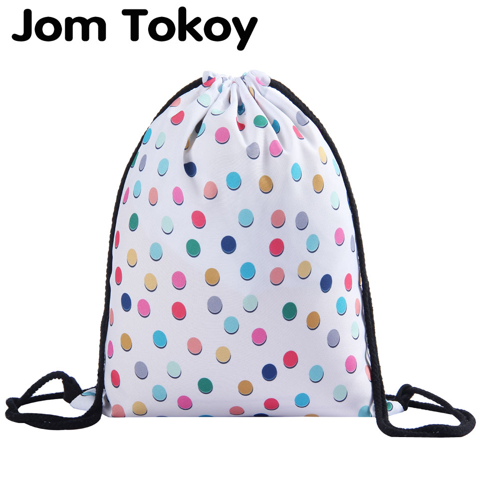 Jom Tokoy 3D Printing Colored Dots Girls Drawstring Backpack Fullprinting New Fashion Woman Drawstring Bag