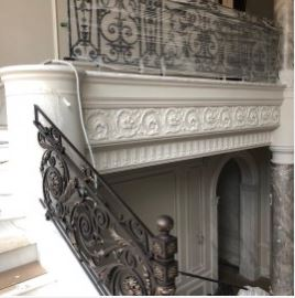Decorative Railing Outdoor Metal Stair Railing Cast Iron Railings | Cast Iron Stair Railing | Residential | Horizontal | Chrome Picket Interior | Custom | Iron Baluster