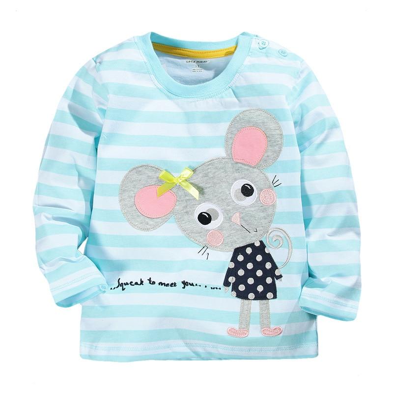 Uute beebitüdrukute T-särk, millele on trükitud armsad hiired, laste topsid, pikkade varrukatega lapsed, sügisel uus rõivas stiilis T-särk 1-6-aastastele