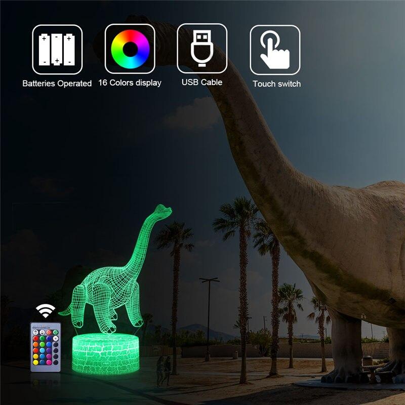 Динозавр 3D светодиодный ночник Велоцираптор с дистанционным управлением Настольная лампа Иллюзия 16 цветов Декор животное подарок для дете...