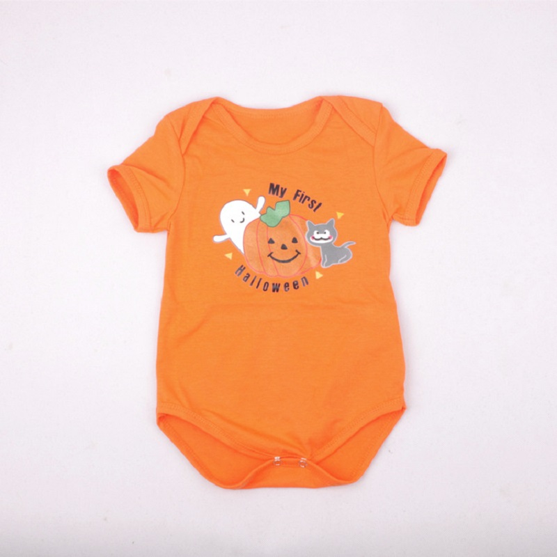 Toddler My First Halloween Costumes Jumpsuit Short Sleeve Orange Clothes for Girls Pumpkin Bodysuits Newborn Cosplay Gifts