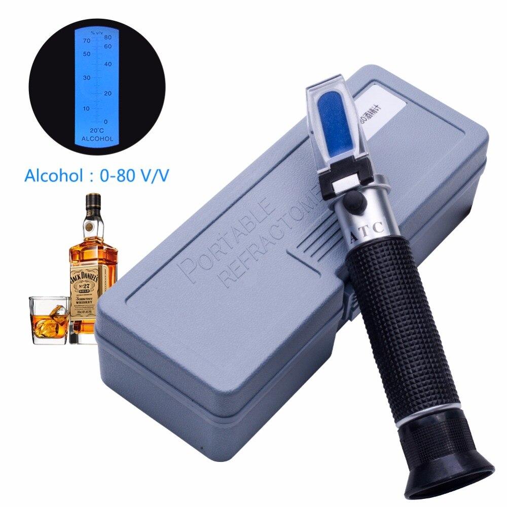 Yieryi de concentración de Alcohol en la Detector de licor medidor de Alcohol refractómetro de 0 v-80% v/v de un alcoholímetro Oenometer