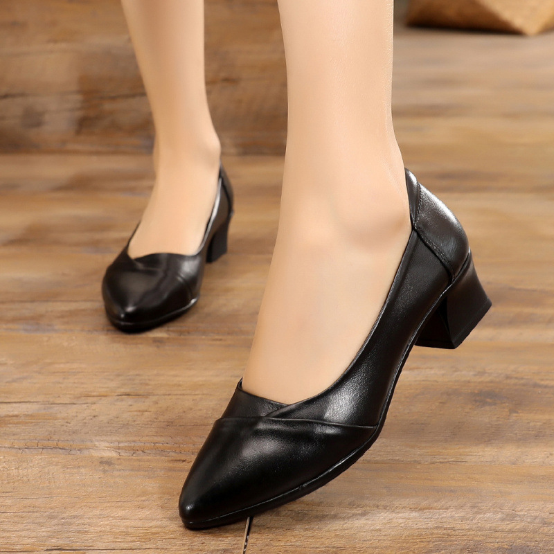 Image 4 - GKTINOO Spring 2019 Fashion Ladies Pointed Toe Women Pumps Mid Heels Comfort Professional Work Shoes Woman Genuine LeatherWomens Pumps   -