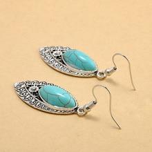 Bohemia Tibetan Vintage Silver Turkish Drop Dangle Earings Gypsy Ethnic Stone India Hanging Earrings