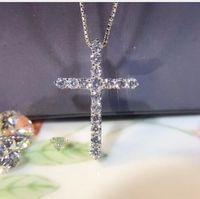 TN020 Free Shipping Brilliant Sona Simulated Gem Cross Necklace For Women Crossing Pendant