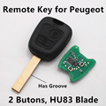 Remote Control Key 2 Buttons 433Mhz for PEUGEOT 206 207 307 Car Keyless Entry Fob HU83 Blade
