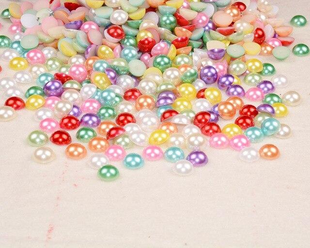 Полукруглые бусины из АБС пластика 12 мм многоцветные для скрапбукинга