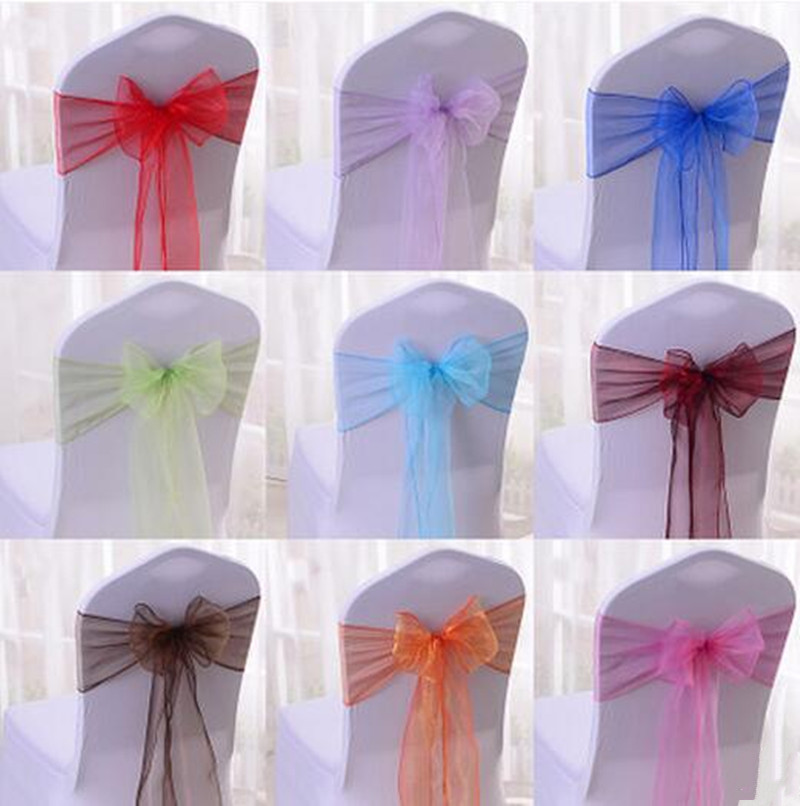 50pcs 18 Color DIY wedding Chair Covers Sashes bow Butterfly Ribbon for Party Birthday Party enterpieces