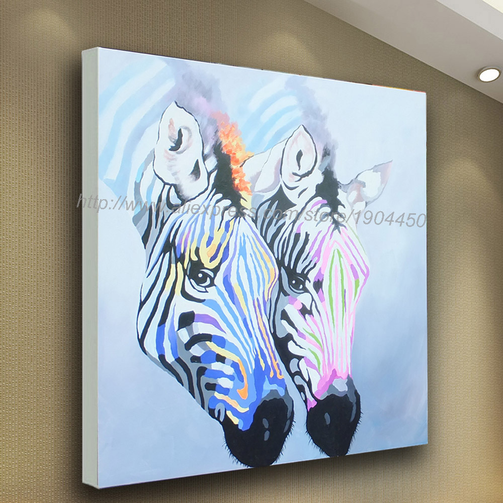 Hand painted large modern abstract cartoon animal colorful for Large colorful wall art