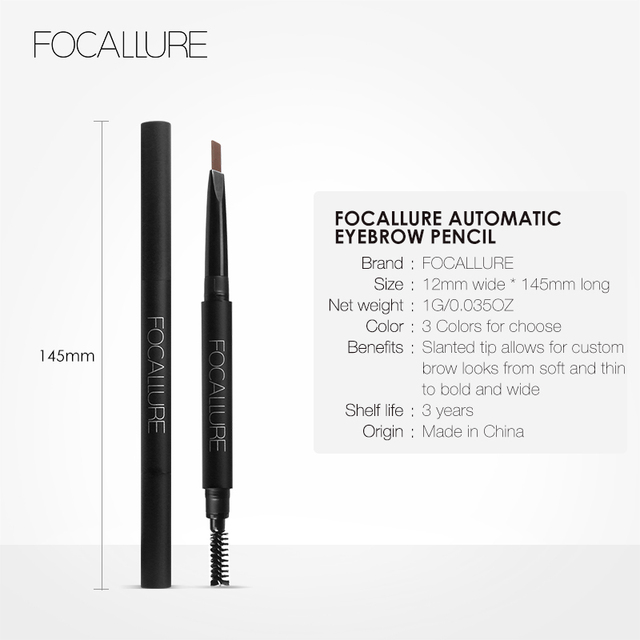 FOCALLURE Eyebrow Pencil 3 Colors Soft And Smooth Automatic Waterproof Natural 1pc Eye brow with brush Makeup tools 5