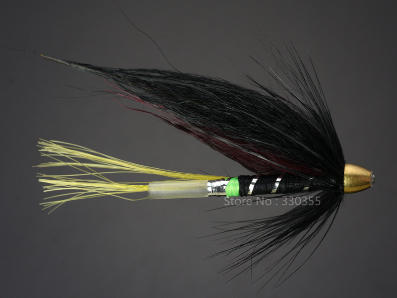 100Pcs Tube Fly Black Brown Cone Heads Salmon And Sea Trout Fly Fishing Lures Flies