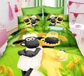 green shaun the sheep printed bedding sets single twin size bedspread Childrens boy's home decor quilt duvet cover 3pc no filler