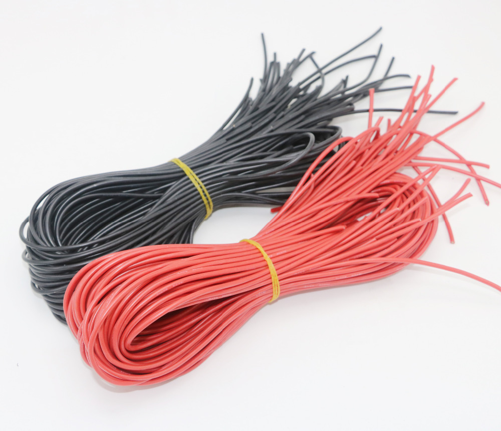 10meter lot High Quality wire silicone 10 12 14 16 18 20 22 24 26 AWG 5m red and 5m black color in Parts Accessories from Toys Hobbies