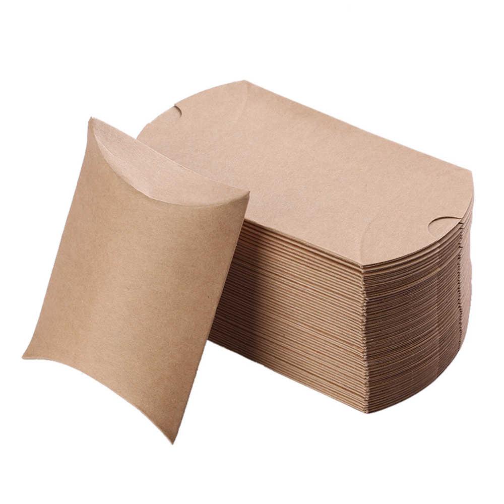 10 Chiếc Ủng Hộ Kẹo Túi Hộp Mới Nghề Giấy Gối Hình Cưới Ưu Ái Tặng Bánh Đảng Túi Hộp Eco thân Thiện Với Kraft Khuyến Mãi