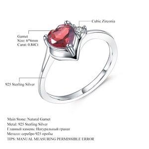 Image 5 - GEMS BALLET Anillo de plata de primera ley con forma de corazón para mujer, sortija, plata esterlina 925, piedra Natural, granate, San Valentín, 0,84 quilates