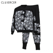 2 Piece Set Women Fashion Long Sleeve Printed Sweatshirt+Pants Suit Tracksuits Autumn Winter Two Outfit