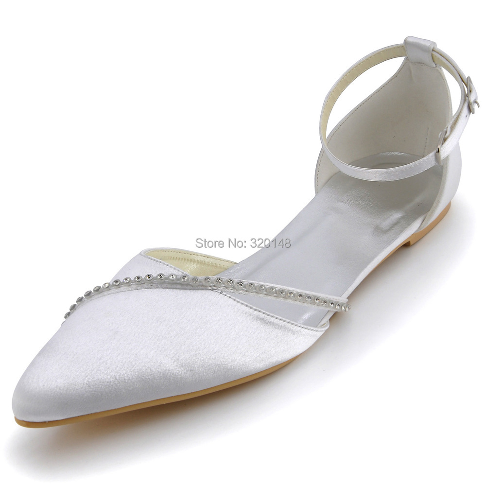 Women Wedding Shoes White A670 Pointed Toe Rhinestones Ankle Strap Satin Wedding Bridal Flatsin