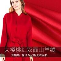 Двойной вишня Двусторонняя кашемировые ткани высокого класса Двусторонняя кашемировые пальто ткани оптом высокое качество ткани шерсть