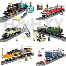 DHL в наличии H & HXY 98230-98235 02010 21005 21006 02039 02117 02118 на батарейках поезда строительные блоки наборы игрушки-модели Подарочные
