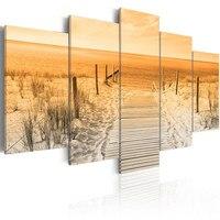 Canvas Painting Mural Art Print Frame 5 Pieces Beach Landscape Pictures Dune Poster Living Room Decoration