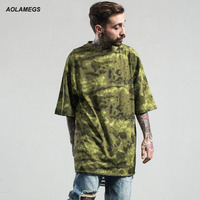 Aolamegs Camouflage T Shirt Men High Street Loose Style Camo T Shirts Homme Fashion Streetwear Men