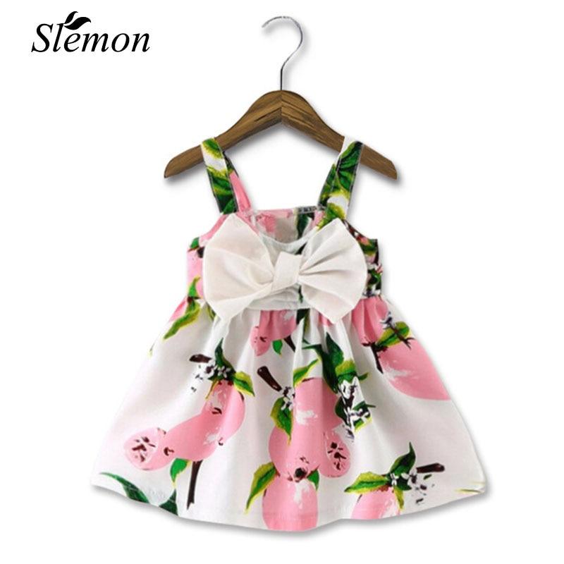 2018 New Baby Infant Girl Dresses Fashion Print Clothes Sleeveless Slip Dress Princess Birthday Girls Dress Summer Pink Yellow ethnic print sleeveless dress