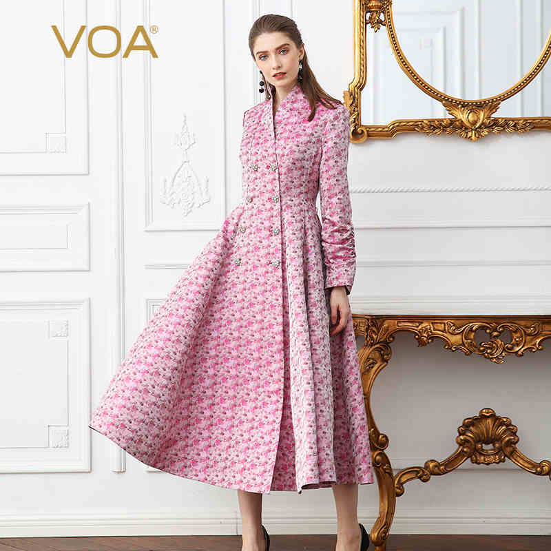 VOA Pink High Waist Runway Long Silk Dress Slim Thickness Plus Size Women Tunic Trench Dress Double Crystal Button Clothes A108