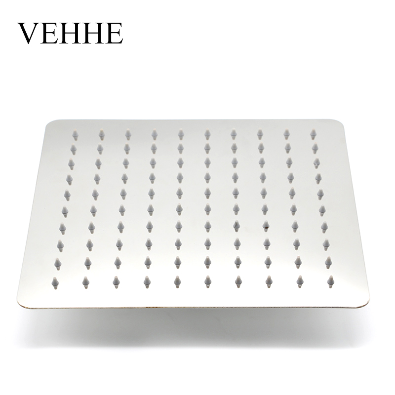 VEHHE 10 Inch Square Bath Ceiling Shower Stainless Steel Big Rain Shower Bathroom Fixture Shower Top Wall Mounted Shower Head vehhe 20cm round bathroom fixture big rain shower chorme grey silica gel holes top wall mounted shower ceiling rain shower head