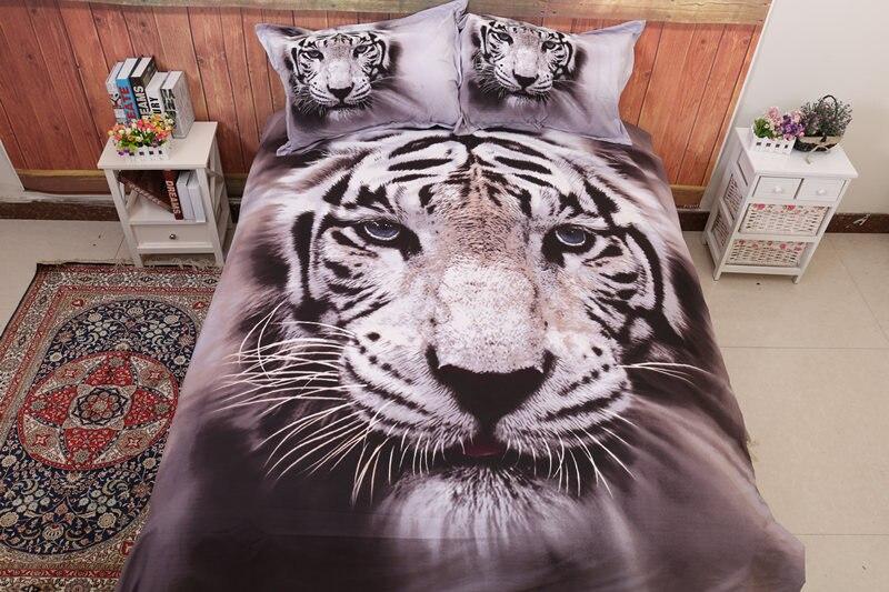 3D Animal housse de couette roi/reine taille tigre blanc coton mélange offre spéciale 3D couvre-lit ensembles de literie