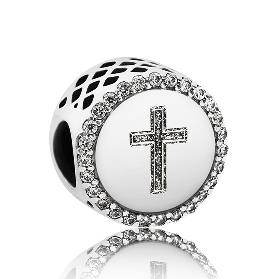 Authentic 925 Sterling Silver Faith Cross With Crystal Beads Charm Fit Pandora Bracelet Bangle For Women DIY Jewelry Marking