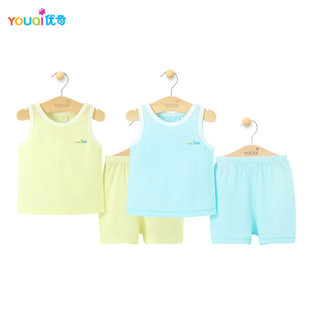 2 шт. Прохладный Одежда для малышей летний комплект без рукавов для маленьких мальчиков хлопковая одежда жилетки для девочек ясельного возр... ...