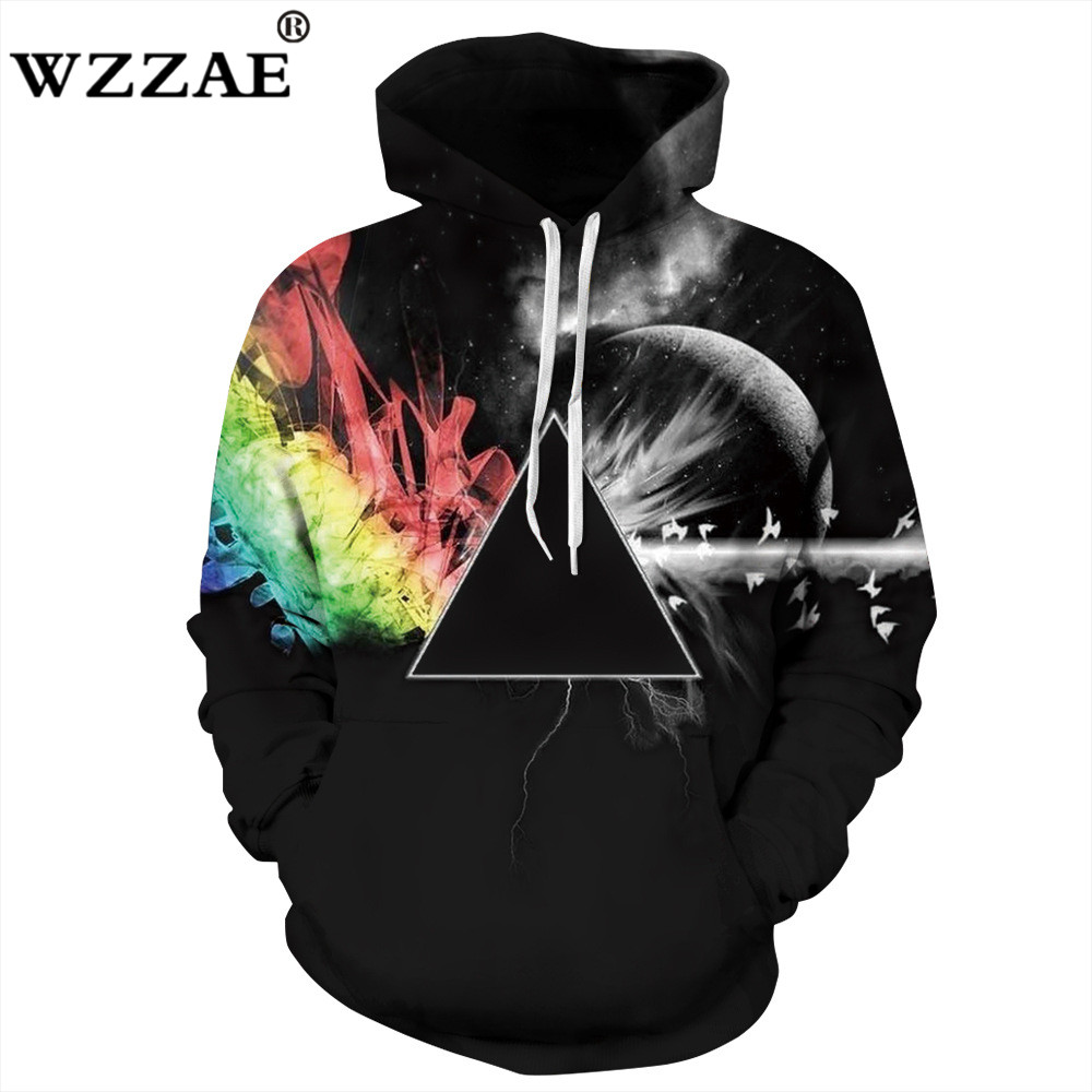 Hot 2018 Brand New Sweatshirts Men/women 3d Sweatshirts Print Sunlight Refraction Rainbow Hooded Hoodies Pullover Tops Hoody