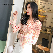 fashion woman blouses 2019 Long sleeve chiffon women blouse shirt office lady tops blusas Bow Polka Dot OL