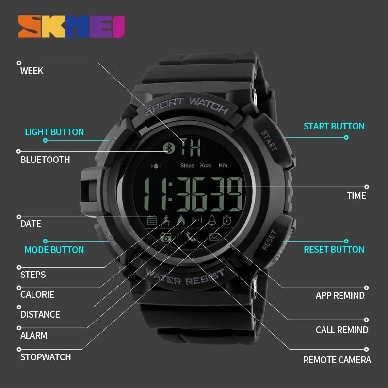 d1a53d962 SKMEI عن كاميرا ساعة ذكية الرجال عداد الخطى الرياضة الساعات مكالمة رسالة  التطبيق تذكير الذكية معصمه ل IOS الروبوت فون 1245 في SKMEI عن كاميرا ساعة  ذكية ...