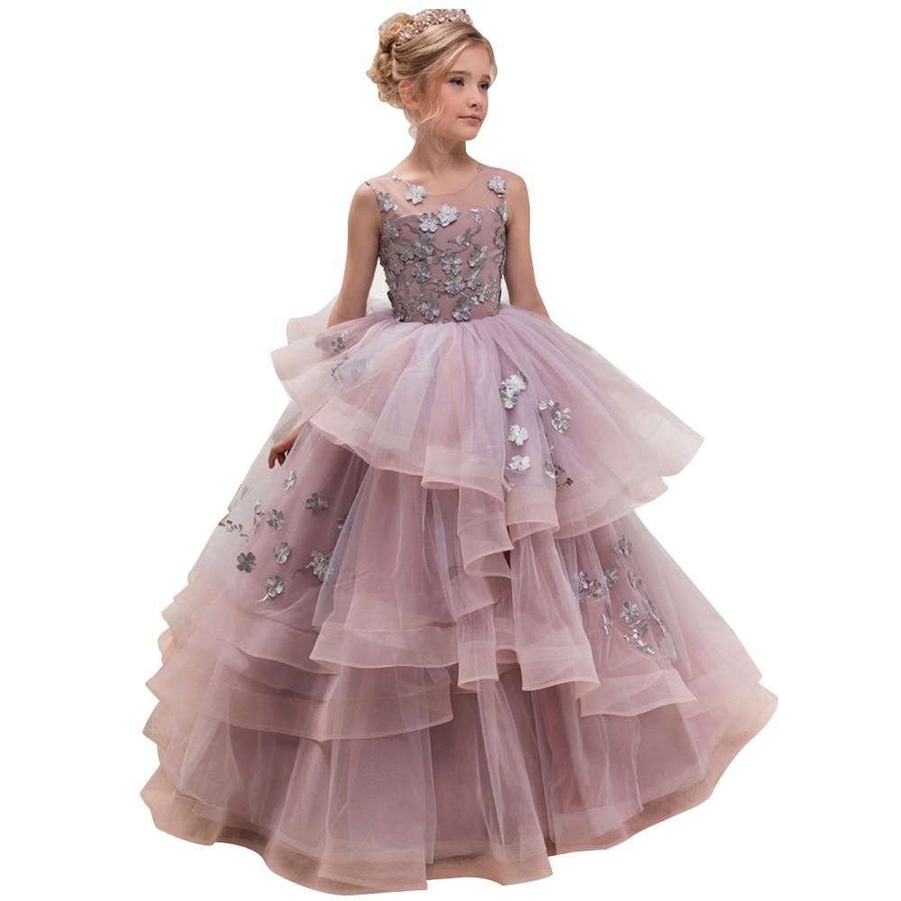 Offre spéciale filles organza col rond sans manches fleurs robes de bal filles élégantes princesse robe de fête d'anniversaire
