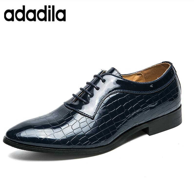 Desinger Couro Homens Sapatos Dedo Formal Black Fashion Italiano De blue Apontado Masculino Oxford Para Patente Vestido Pele Brilhante Cobra Brogue rnzrAf1wx