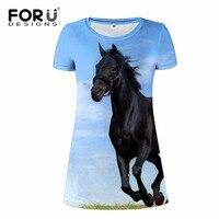 FORUDESIGNS 2017 Brand Women Dress Summer Casual Basic Woman Vestidos 3D Horse Woman Dresses For Girls