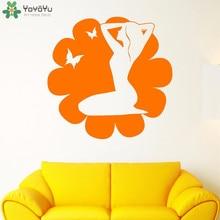 YOYOYU Wall Decal Girls Beauty Salon Wall Stickers Flower Butterfly Pattern Spa Removable Window Fashion Design Art Decor SY846